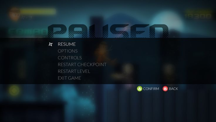 Video game pause menu example.