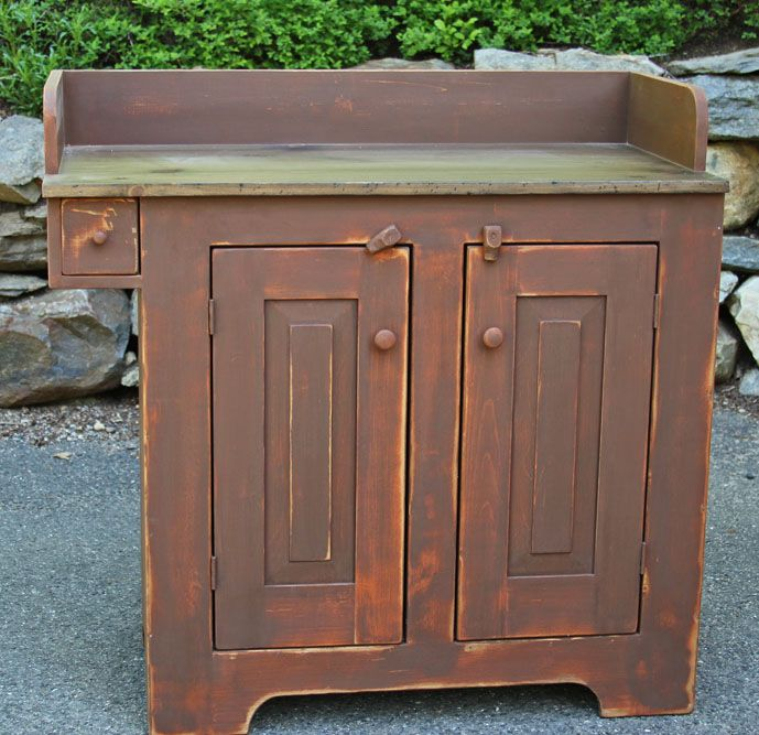 primitive+furniture+reproductions | custom vanity I finished recently in brown over pumpkin milk paint.