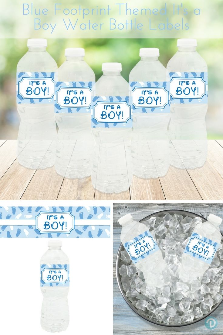 """Decorate your baby shower water bottles with this set of 20 waterproof, self-adhesive, blue and white, """"It's a Boy"""" water bottle sticker labels.  #boybabyshower"""