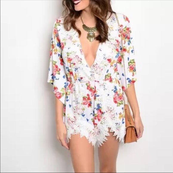 🔴 Floral jumper BOGO Chic floral crochet trim romper PLEASE comment on the size you want and allow me to make you a personalized listing BUNDLE AND SAVE 10% Pants Jumpsuits & Rompers