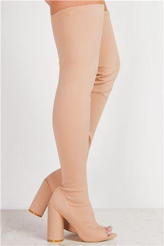 Ezmy Nude Peep Toe Over The Knee Boots