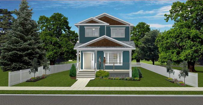 House Plan 2017158 Narrow 2 Storey Plan By Edesignsplans Ca Full Width Front Veranda 3 Bedrooms Upstairs Two Storey House Plans Storey Homes House Plans