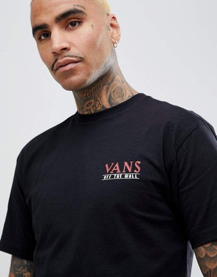 a6033c01b5063f Vans Boarhead T-Shirt With Back Print In Black VA3HEUBLK