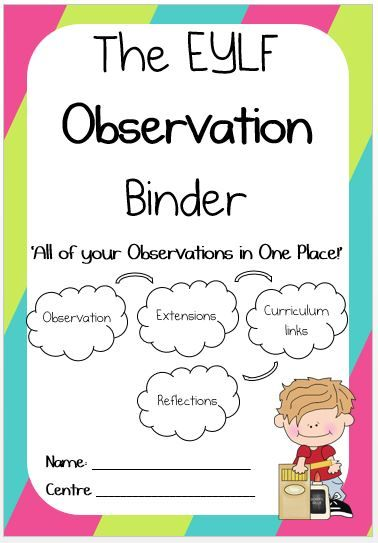 The EYLF Observation Binder 'All of Your Observations in One Place!' The perfect way to organise observations, plan for future learning experiences and reflect on the teaching and learning taken place.  CONTENTS Types of Observations Record of Observations Links to Theorists and Curriculum Anecdotal Record Title Page and Template Jottings Title Page and Template …