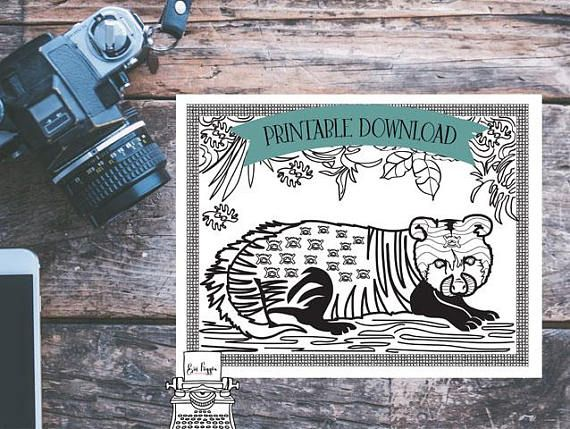 Coloring Page - African Animal - Civet - Cat // INSTANT DOWNLOAD // Manifestation and Meditation Colouring Page