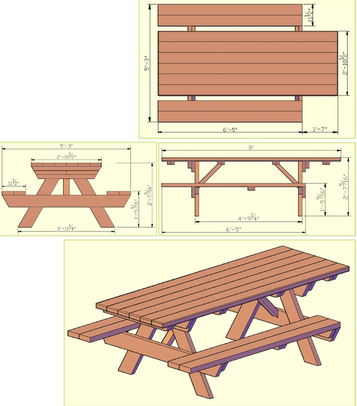 337 best images about diy outdoor furniture on pinterest for Wheelchair accessible picnic table plans