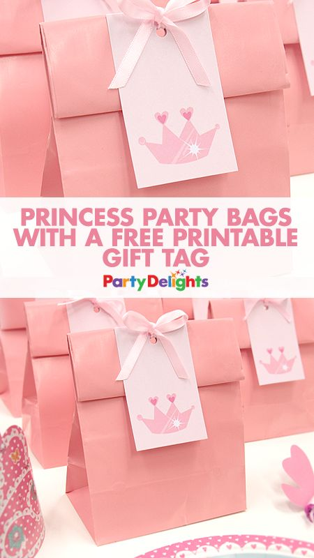 Complete your princess party with these cute DIY party bags! All you need is some plain pink paper bags and our free printable gift tags to make these gorgeous DIY princess party bags! Perfect for a princess birthday party.