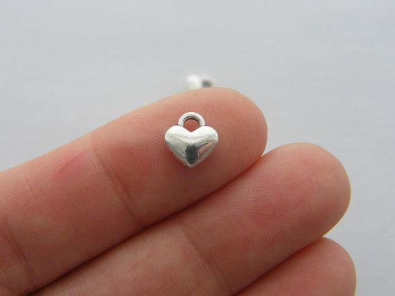 BULK 50 Heart charms antique silver tone H162