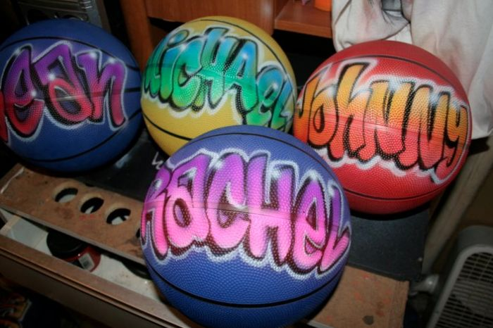 Airbrushed basketballs are great favors for a basketball Bar Mitzvah. | MitzvahMarket.com