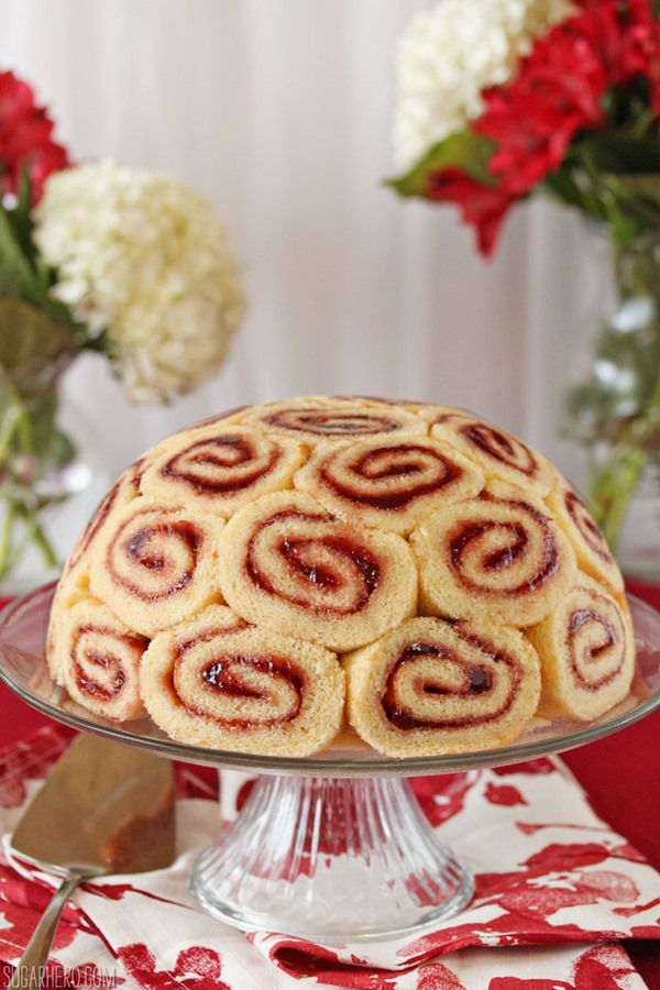 Charlotte Royale, Swiss Roll filled with Mouse. I'm thinking a chocolate version filled with chocolate mouse would be absolutely perfect for my sister in law's birthday!