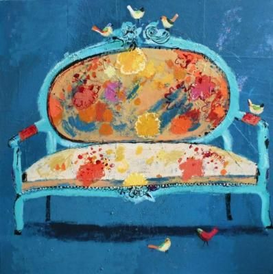 Absolutely enamored by the work of Charlotte Hardy: Art Illustrations, Mixedmedia, Art Inspiration, Chairs, Colors, Charlotte Hardy, Birds, Flower, Sofas