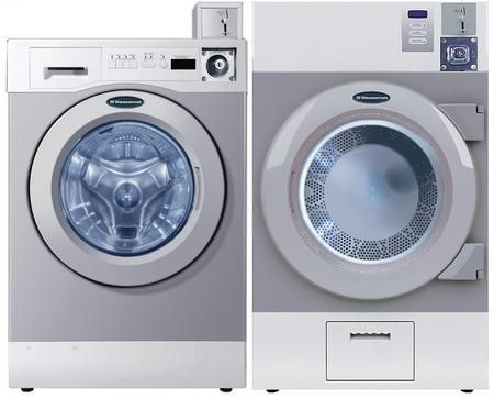 """Grey Front Load Coin Operated Laundry Pair with WHWF09810M 27"""" Washer and DAWF0EM 28"""" Electric Dryer"""