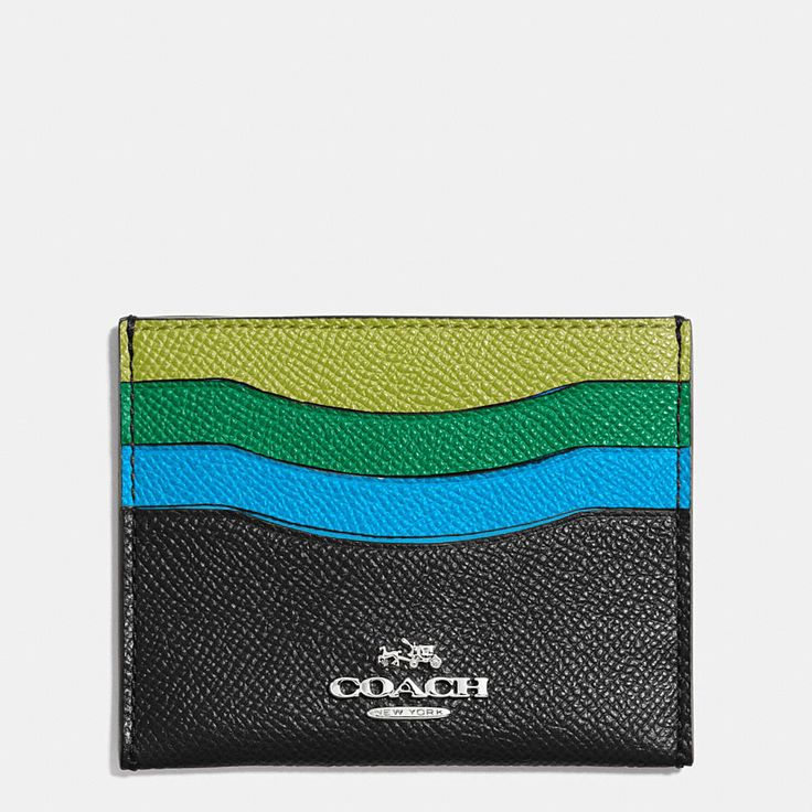 Reminiscent of a rainbow, this precisely crafted leather card case is finished with applied Coach hardware for a touch of signature shine. Its cheerful, scalloped design has a pretty sense of movement.