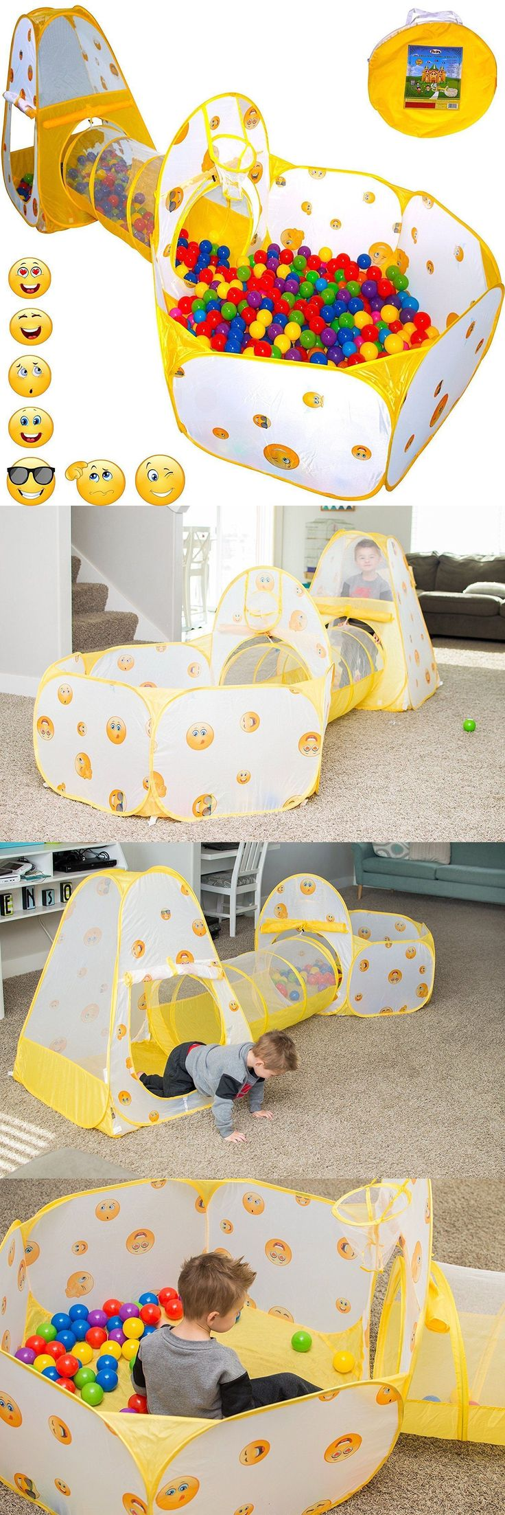 Toys for Baby 19068: Baby Play Tent Crawl Tunnel And Ball Pit Toddler Toy Stages Playhouse Emoji Toy -> BUY IT NOW ONLY: $36.93 on eBay! #toddlerplayhouse