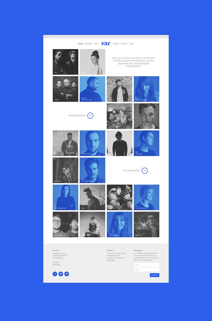 Responsive website for German Music label Four Music.