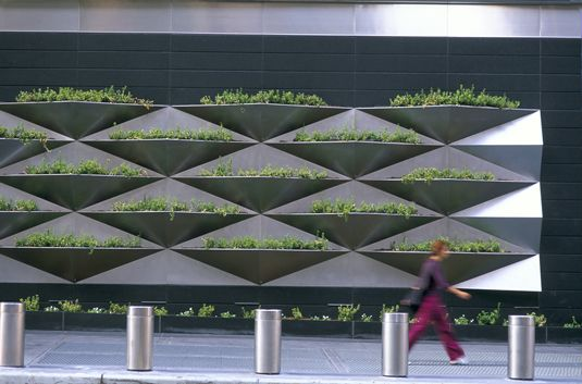 faceted green wall