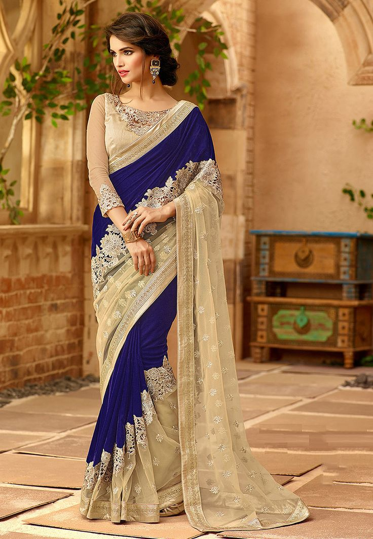 Embroidered Velvet and Net Saree in Royal Blue