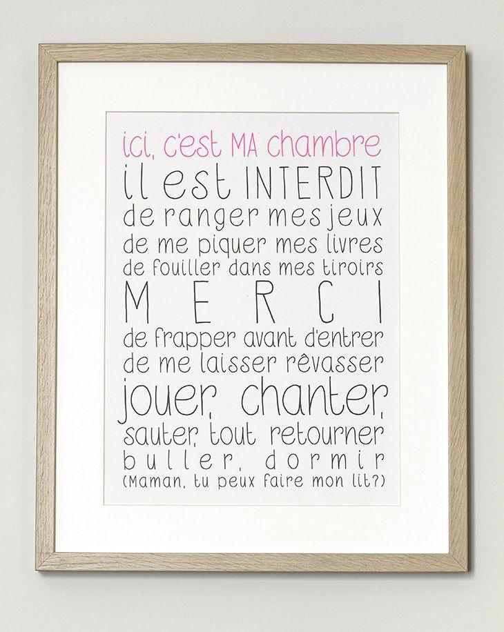 """Image of Affiche """"Ici, c'est MA chambre"""""""