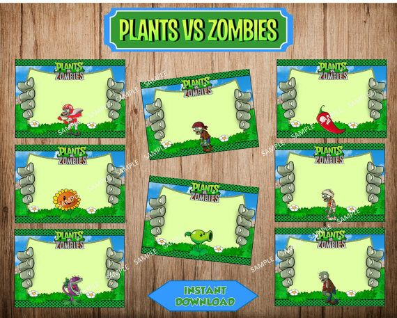 PLANTS vs ZOMBIES Food Labels, Plants vs Zombies Printable Party Stickers, Instant Download, Printable File.