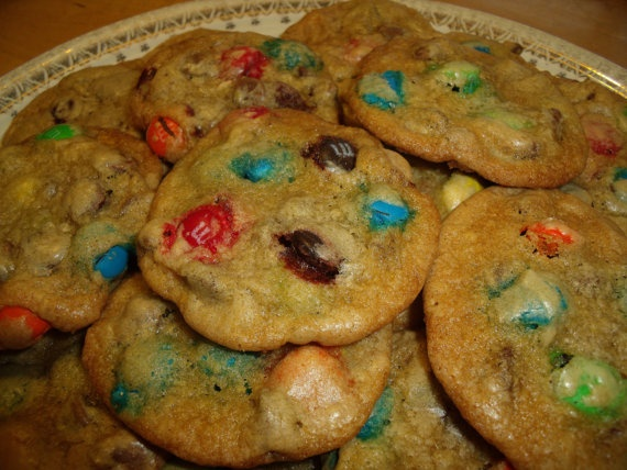 You gotta have the recipe for this one!   Chocolate Chip M Cookie Recipe - Austin's Favorite. $1.50, via Etsy.