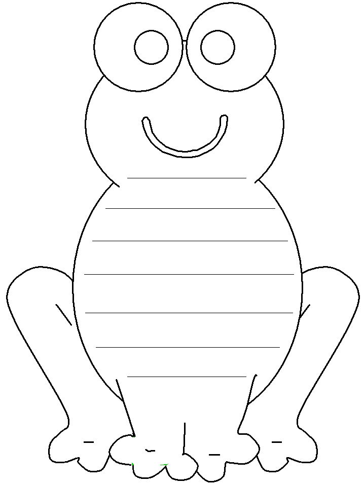 Frog Shape Book - Lined Page-writing paper for writing center Frog and Toad