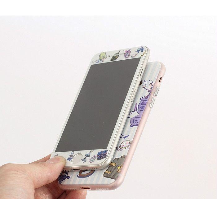 不思議の国のアリスiphone8携帯カバー液晶保護フィルム付きセット8plusガラスフィルムジャケット全方面守る6splusケースふしぎの国のアリス