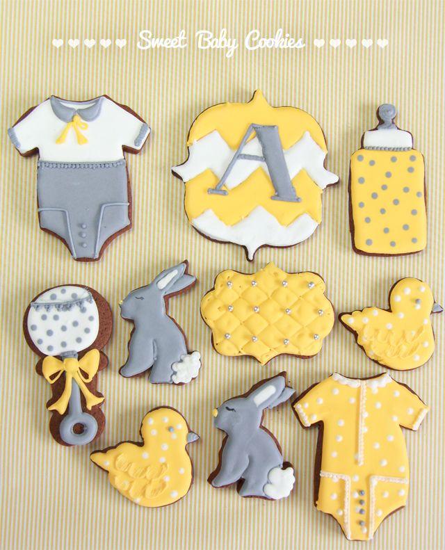 Galletas bebé amarillo y gris + tutorial galleta de conejo