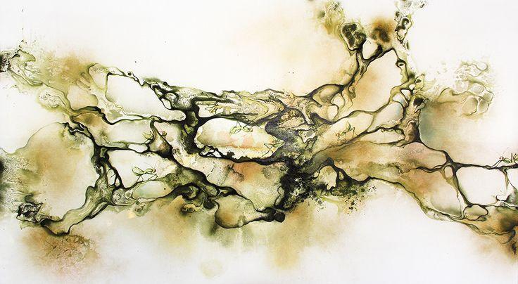 "Artist Rikke Darling. Painting. Mixed media on canvas. Title: ""Taking Control"" 140x250 cm. Exhibited at Galeri Canna, Jakarta, Indonesia. www.rikkedarling.com #artistrikkedarling #painting #acrylic #artwork #art #artist #gallery #artgallery #rikkedarling #green #orange #canna #galeri #white #galericanna"