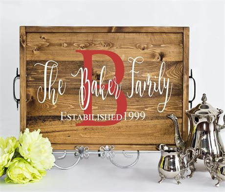 Personalized family name sign, Anniversary Gift, Ottoman tray, Personalized Gift, Personalized wedding gift, Personalized Anniversary Gift, Serving Tray, Wedding gift, Wedding Guest Book, Wood Tray, anniversary guestbook, family established sign, address sign, coordinates sign   -Our personalized trays can serve more than one purpose. With your family name on it, your family establishment date it can serve as a decoration and a precious memento to remind you of your vows you made to that…