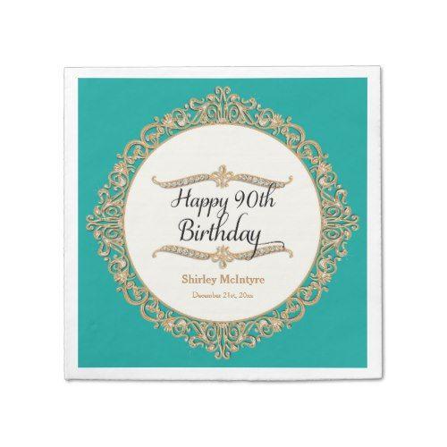 90th Happy Birthday Party Celebration Round Decor Paper Napkin