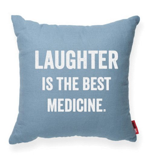 LAUGHTER IS THE BEST MEDICINE Blue Decorative Pillow