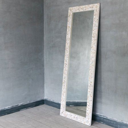 180x65 £595 Classic Mother Of Pearl Floor Mirror In White | Mirrors | Graham & Green