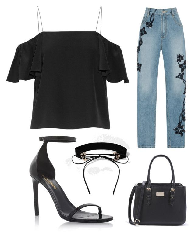 black by folea-petra-dana on Polyvore featuring polyvore мода style Fendi Jonathan Simkhai Yves Saint Laurent River Island fashion clothing