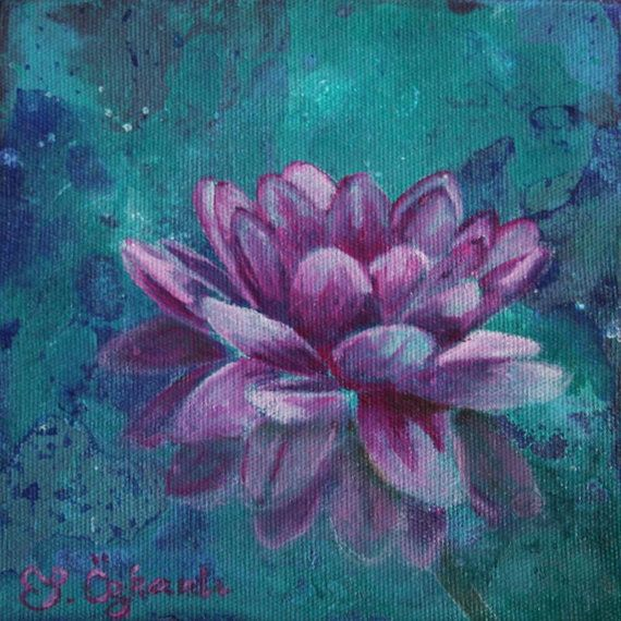 6x6 inches oil painting on canvas, pink lotus