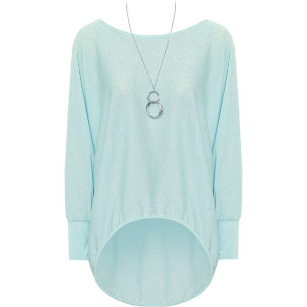 Janiya Necklace Batwing Knitted Top ($22) ❤ liked on Polyvore featuring tops, light blue, long sleeve batwing top, batwing top, light blue top, green top and long sleeve tops