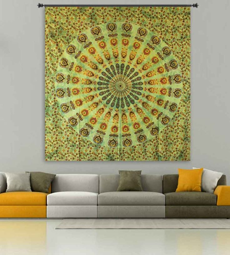 Indian traditional light green boho mandala tapestry.Perfect for topping a bed, couch, wall or your favorite chair.This Wall Tapestry can also be used as a: - Tapestry or a Wall Hanging, Bedspread, Bed Cover, Table Cloth, Curtain, Dorm Decor, Picnic Sheet Add an ethnic feel to your room with this cotton handmade wall hanging.