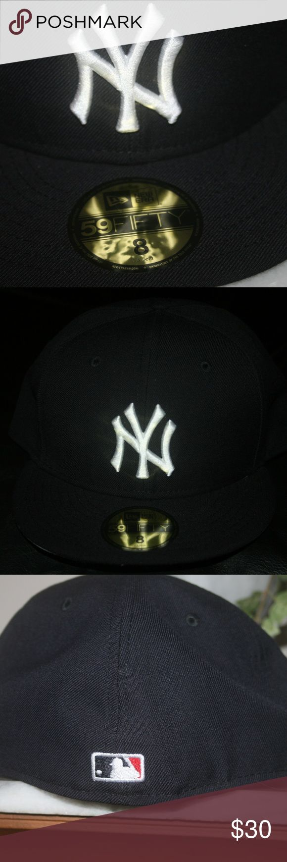 Black New Era Yankee 59Fifty Fitted  NWT Size 8 A classic New Era New York Yankees 59FIFTY Fitted to add to any hat collection. Features team logo embroidered at front, moisture headband to keep from sweating. New Era Accessories Hats