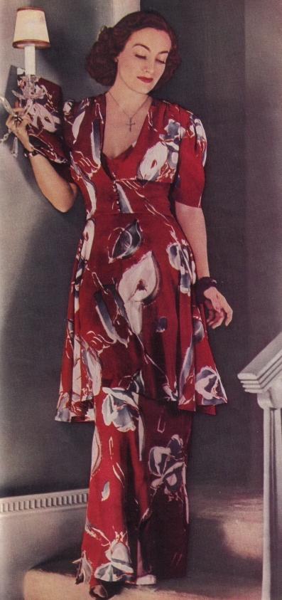Joan Crawford in lounging pajamas.