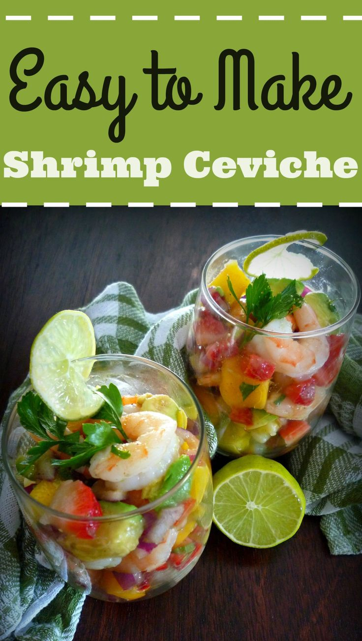 This delicious combination of Shrimp, Avocados, Mangoes, Pineapple and Jalapeno Peppers is so simple and easy to make. Do you love Shrimp Ceviche, yet hate waiting for the lime juice to cook it? I have a simple cure for that. This recipe for Easy Shrimp Ceviche has all of the flavors, yet none of the long wait time. It looks stunning in a wine glass, champagne glass, martini glass or for a South American vibe use a Margarita glass.