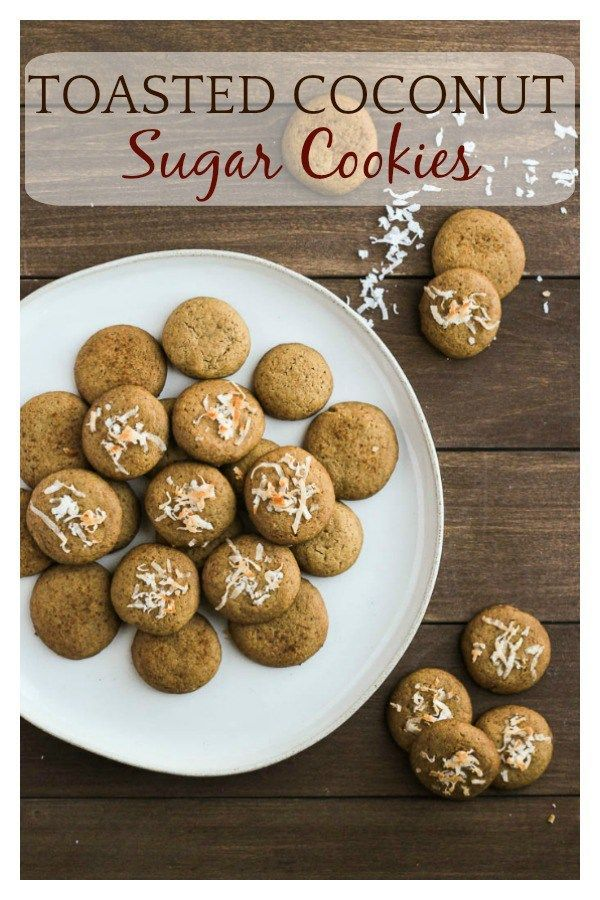 Made with coconut palm sugar and topped with crispy coconut shreds, Toasted Coconut Palm Sugar Cookies are a delicious twist on classic sugar cookies! | #cookies #sugarcookies #baking #christmascookies #holidaycookies #coconut #coconutcookies