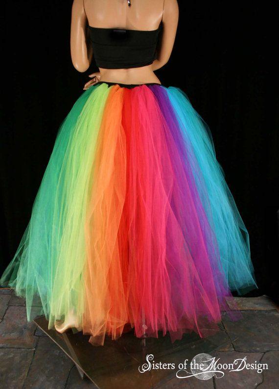Rainbow Tutu Tulle Skirt Streamer Floor Length Formal