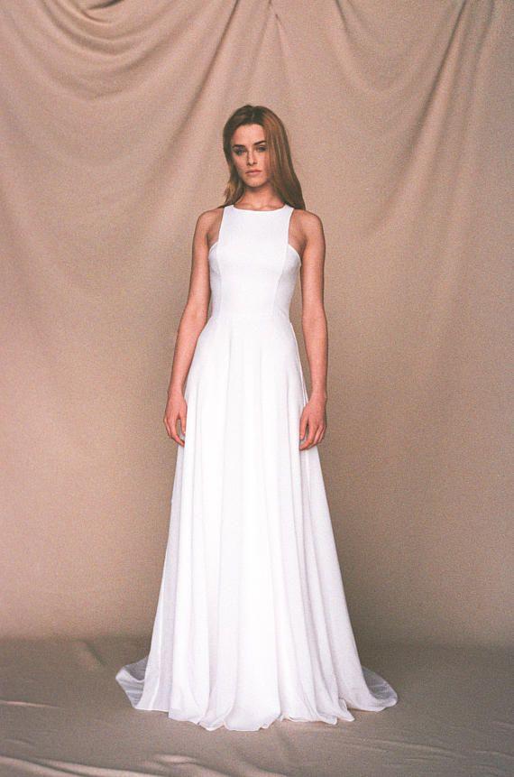 f8af8cb36ec2 Beach wedding dress Minimalist crepe wedding dress Simple | Weddings ...