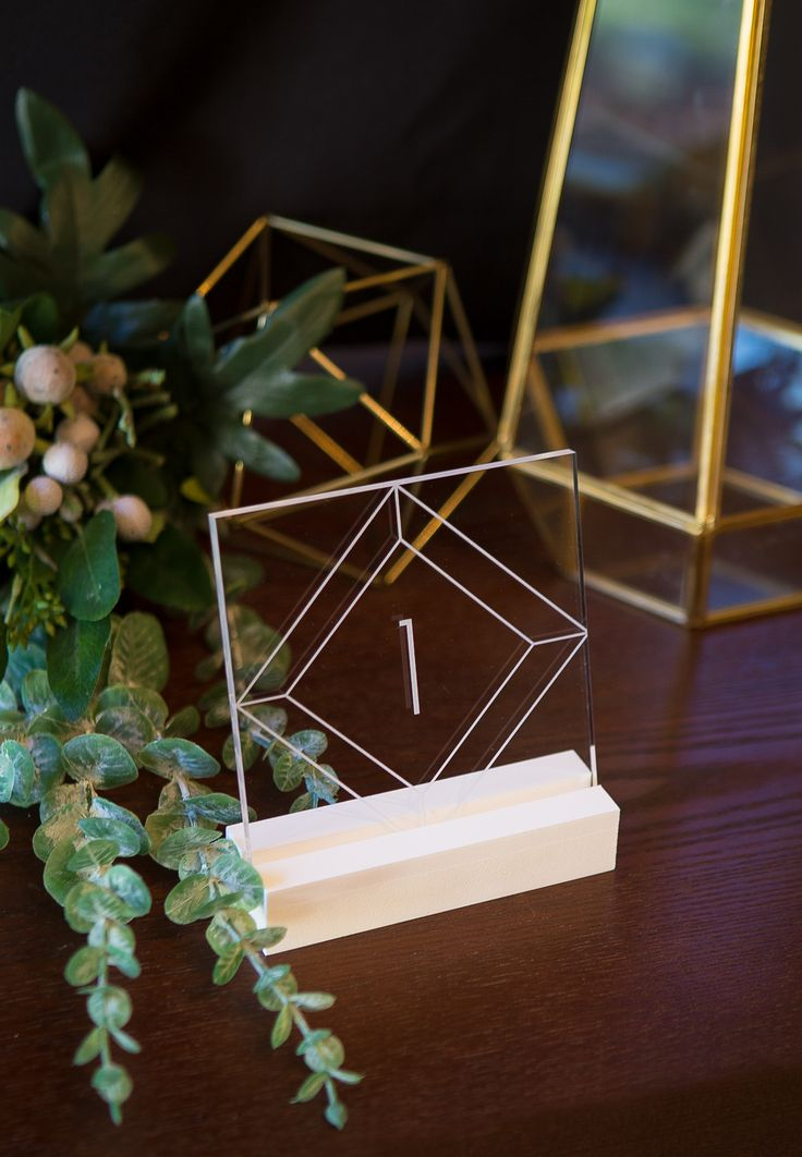 Find Your Wedding Style - Clear Acrylic Geometric Table Numbers Perfect for Your Modern Wedding // Acrylic Table Numbers by www.ZCreateDesign.com or Shop on Etsy by Clicking Pin