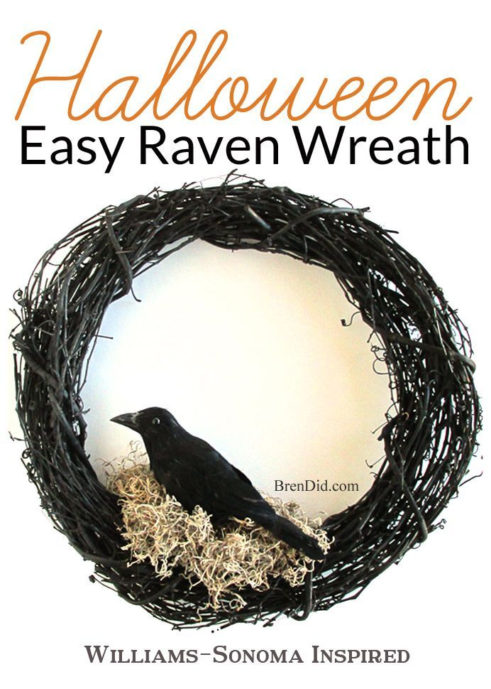 Williams Sonoma Inspired Halloween Crow Wreath  - This easy Halloween wreath DIY will compliment your Halloween decorations. Get the full tutorial at http://BrenDid.com. #Halloween #decor #DIY #Knockoff #wreath #EdgarAllanPoe #Raven
