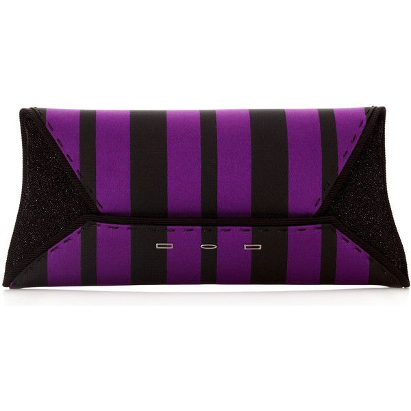 VBH Textile Grosgrain Cassis Stripes And Leather Black Diamond Dust... (15 805 ZAR) ❤ liked on Polyvore featuring bags, handbags, clutches, genuine leather purse, striped purse, purple purse, 100 leather handbags and purple leather handbag