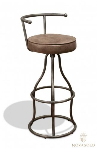 Tøff og maskulin Old Amsterdam barstol i vintage skinn og ramme i metall. Stolen har justerbar høyde og leveres også uten ryggstøtte - se relaterte produkter nedenfor.  #furniture #møbler #leather #skinn #topgrain #metal