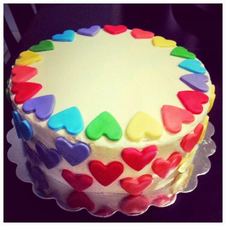 Rainbow Heart Birthday Cake Baby Girls 1st Birthday Birthday