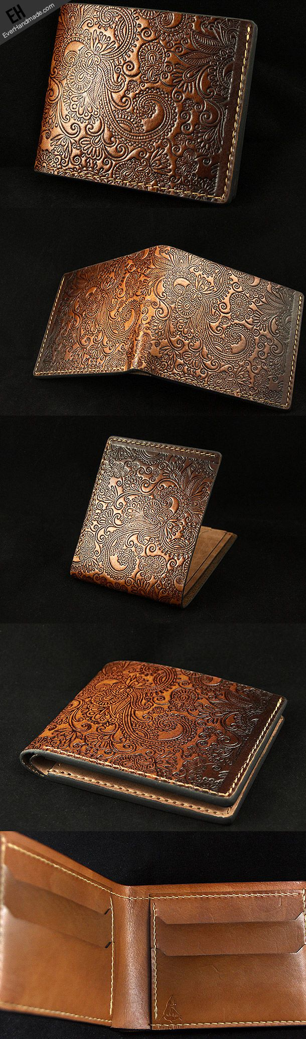 Handmade leather brown custom short wallet Cashew flowers carved for m | EverHandmade-SR