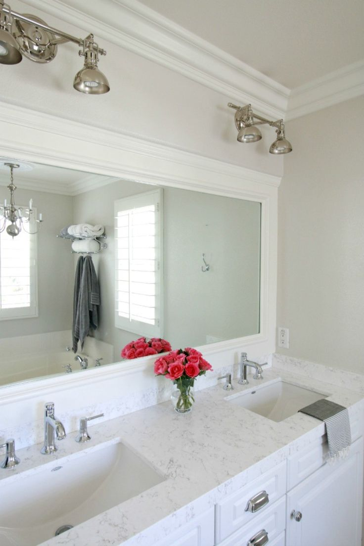 Bathroom mirror ideas diy - Victoria Quartz Countertop Marble Vs Quartz A Thoughtful Place Framed Bathroom Mirrorsbathroom Marblebathroom