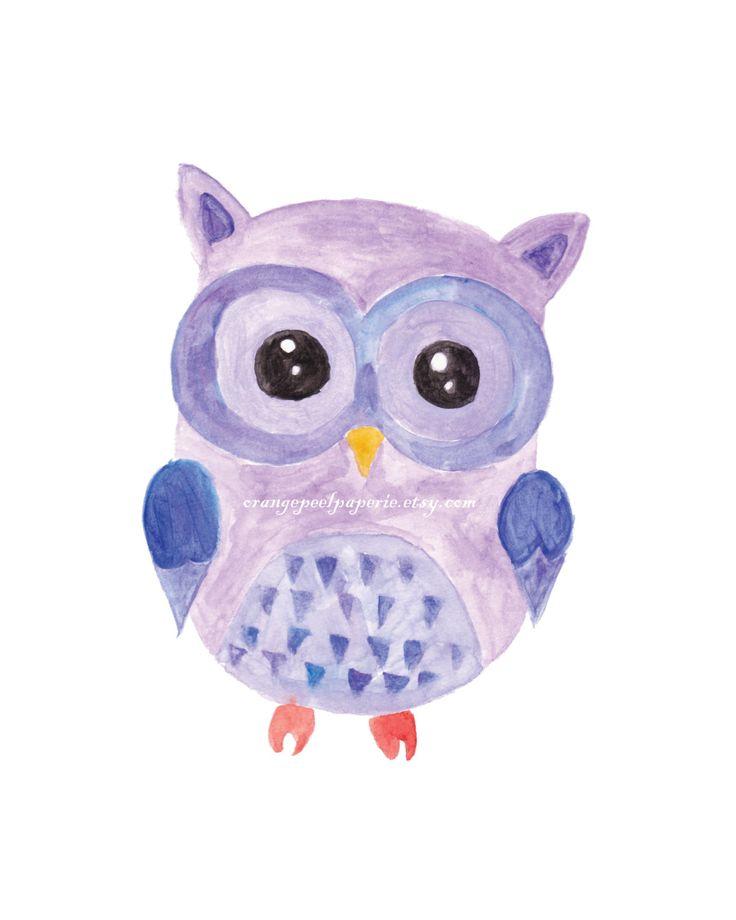 Owl Nursery Art, Purple Nursery Art, Owl Printable, Nursery Printable, Owl Download, Instant Download Owl, Watercolor Art Print, Nursery Art by OrangePeelPaperie on Etsy